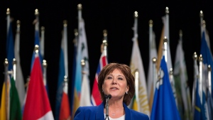 British Columbia Premier Christy Clark addresses the Union of B.C. Municipalities convention in Vancouver, B.C., on Friday, September 25, 2015. (Darryl Dyck / THE CANADIAN PRESS)
