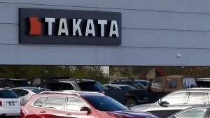 Parts supplier Takata is photographed in Auburn Hills, Mich., on Oct. 22, 2014. (Source: Carlos Osorio/Associated Press)