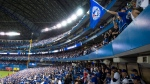 Fans cheer before the start of game one American League Division Series baseball action between the Toronto Blue Jays and Texas Rangers in Toronto on Thursday, Oct. 8, 2015. (Darren Calabrese / THE CANADIAN PRESS)