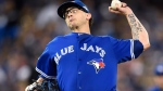 Blue Jays' pitcher Brett Cecil works against the Texas Rangers during 8th inning of Game 2 of the ALDS Toronto on Friday, Oct. 9, 2015. (Frank Gunn / THE CANADIAN PRESS)