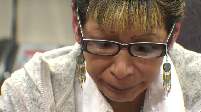 Susan Caribou speaks during an emotional news conference with media at the Assembly of Manitoba Chiefs' office on Jan. 15, just days after her nieces were charged with second-degree murder.