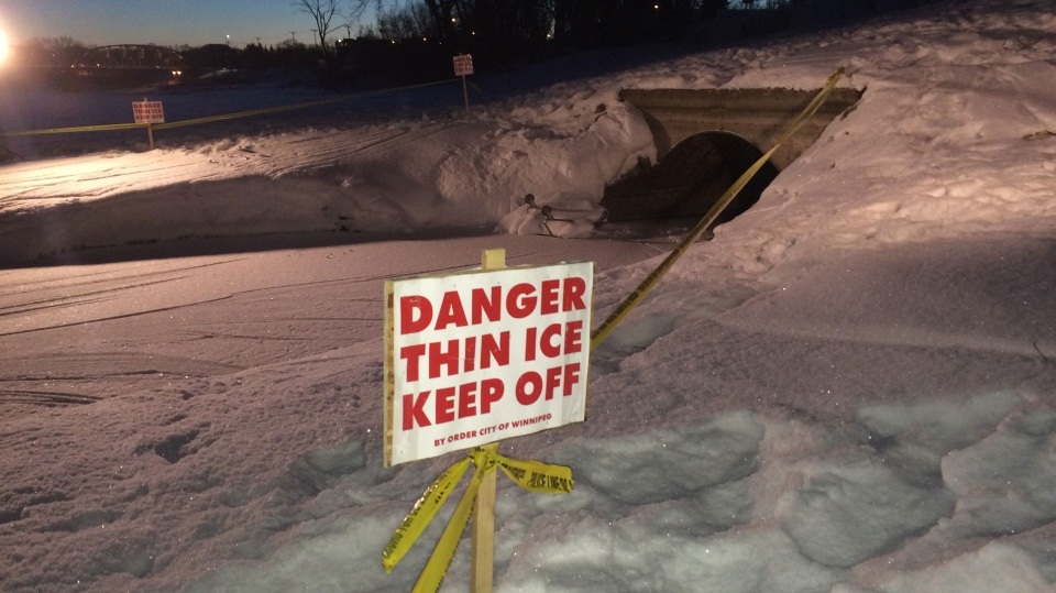 "On Thursday night, the city put ""thin ice"" signs warning residents of the dangers on the water."