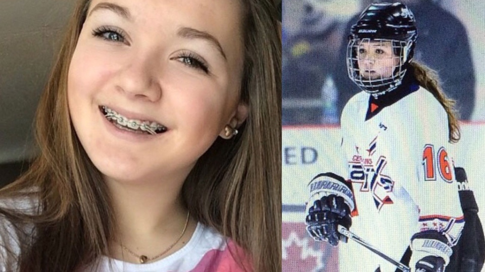 On Jan. 10, Taylor Piskor and her father, Peter, were driving home from Taylor's hockey game, when their truck was hit by a train near Elie, just minutes from home. (Photo courtesy GoFundMe)
