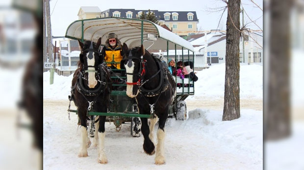 Enjoying a carriage ride at St. Norbert. Photo by Cheri and Ron Voth.