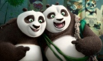 This image released by DreamWorks Animation shows characters Po, voiced by Jack Black, left, and his long-lost panda father Li, voiced by Bryan Cranston, in a scene from 'Kung Fu Panda 3.' (DreamWorks Animation via AP)