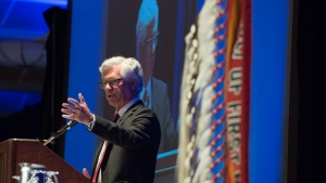 Natural Resources Minister Jim Carr addresses the Assembly of First Nations in Vancouver, B.C., Wednesday, Feb. 10, 2016. (THE CANADIAN PRESS/Jonathan Hayward)