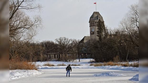 Skating on the duck pond at Assiniboine Park. Photo by Vince Pahkala.