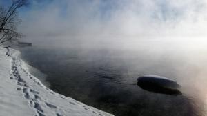Misty Saskatchewan River, in Grand Rapids, MB. Photo by Tiffany Scott.
