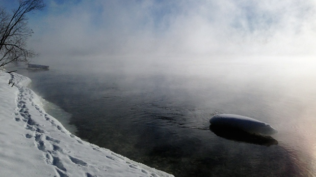 Misty Saskatchewan River, in Grand Rapids, MB. Photo by Tiffany Scott.