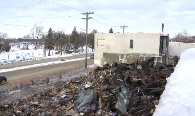 The rubble left behind a day after a massive fire on St. Mary's Road completely destroyed a kitchen and bathroom business. (Feb. 15, 2016)