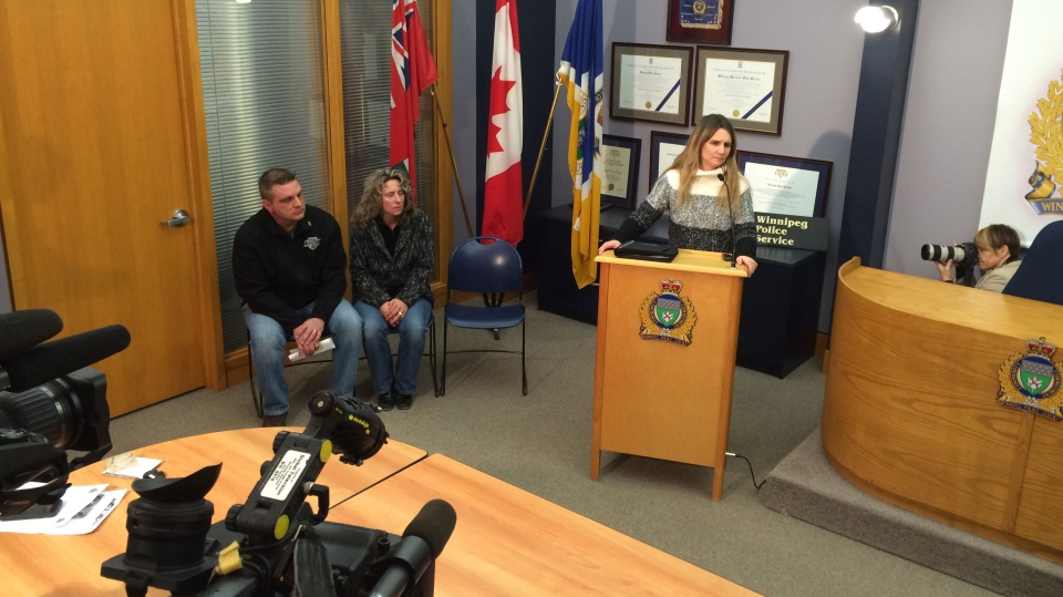 Nemeth's parents, Brent and Gayle, look on as Winnipeg police Det. Sgt. Shaunna Neufeld provides an update on Cooper's investigation Wednesday, Feb. 17, 2016.