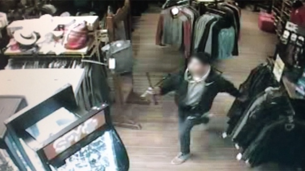 Security camera footage shows an alleged theft at H.P. Tergesen & Sons in Gimli.