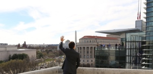 Prime Minister Justin Trudeau waves to onlookers in Washington, D.C., on Friday, May 11, 2016.