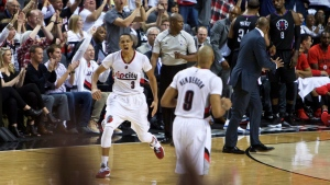 Portland Trail Blazers guard C.J. McCollum reacts after making a 3-point basket against the Los Angeles Clippers during the second half of Game 6 of an NBA basketball first-round playoff series Friday, April 29, 2016, in Portland, Ore. (AP / Craig Mitchelldyer)