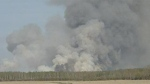 A wildfire is shown burning in southeastern Manitoba near Carrick. (File image)