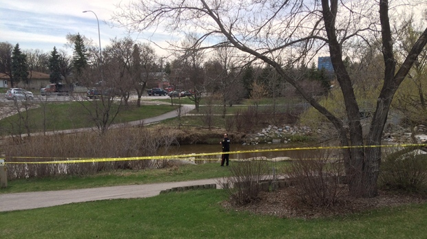 Police said a caller reported seeing clothing near water across from the hospital.
