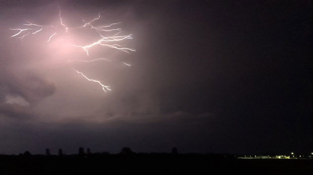 Last night's lightning in Gretna. Photo by Susie Teichroeb.