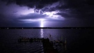 Lightning caught at Pinawa Bay. Photo by Adam Kriegl.