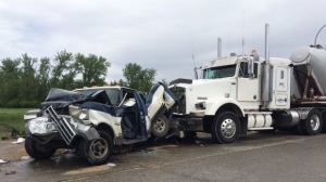 According to police, two men were sent to the hospital after a pickup truck was rear-ended on the Perimeter Tuesday afternoon around noon.