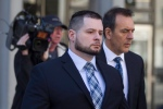 Const. James Forcillo leaves court in Toronto on Monday, May 16 , 2016, after a suspension in his sentencing hearing. (The Canadian Press/Chris Young)