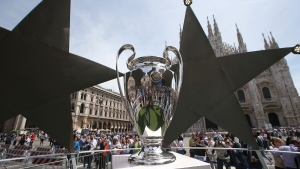 The Champions League trophy in Milan, Italy, on May 26, 2016. (Luca Bruno / AP)