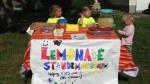 A lemonade stand run by seven-year-old Ottawa girl Mackie Smith, dubbed the 'Pretty in Pink Lemon-aiders,' is seen in this photo. All proceeds from the stand go towards the Ottawa Regional Cancer Foundation.