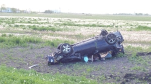 A car rolled over on Inkster Bouelvard around 6:30 p.m. Sunday.