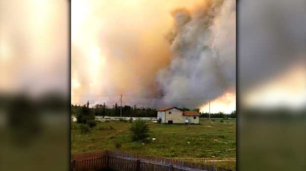 A view from a home near the Easterville fire. Photo by Brayden Ewasiuk.