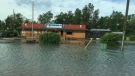 The Nite Hawk Cafe in West Hawk Lake is shown after a thunderstorm dumped heavy rain on the area Friday night.