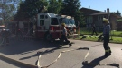 The fire started on the main floor of the home and spread into the attic, fire officials said.