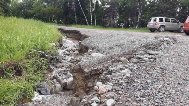 Heavy rains have caused extensive damage to roads in the Whiteshell area.