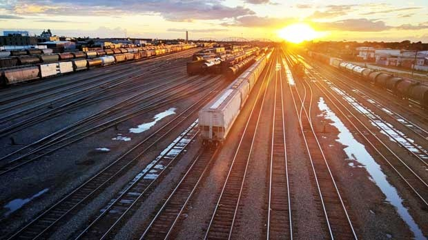 Weston Railyards from the Salter Bridge at Sunset. Photo by Dave Snyder.