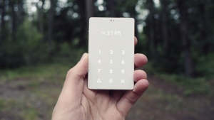 The Light Phone, seen here, is about the size of a credit card, can last up to 20 days on a single charge and only makes phone calls. It's among a small niche in the phone market that favours stylish design and purposefully lacks bells and whistles. (The Light Phone)