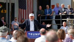 Republican presidential candidate Donald Trump speaks at a town hall-style campaign event at the former Osram Sylvania light bulb factory, in Manchester, N.H., on Thursday, June 30, 2016. (AP Photo/Robert F. Bukaty)