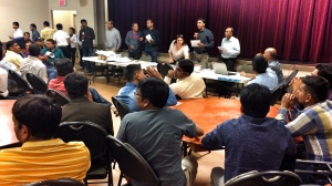 Dozens gathered at the Hindu Society of Manitoba's office on St. Anne's Road.