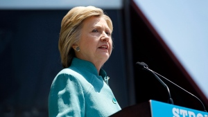 Democratic presidential candidate Hillary Clinton speaks on the Boardwalk in Atlantic City, N.J., Wednesday, July 6, 2016. (Mel Evans/AP Photo)