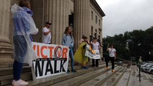 The Victor Walk for victims of childhood trauma marched from the Children's Museum to the Legislative Building on Saturday. (Photo: Lizzy Symons/CTV Winnipeg)
