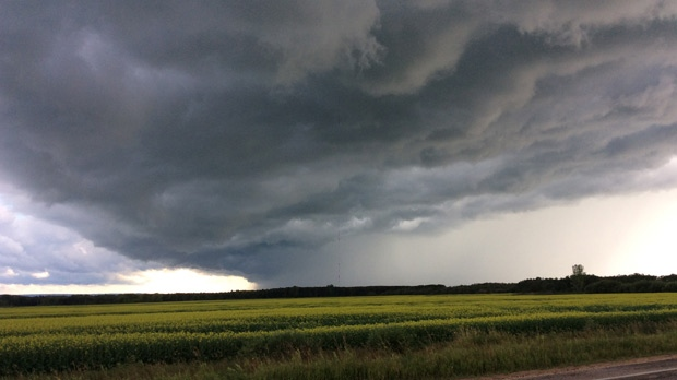 Approaching storm clouds near Dauphin. Photo by Loren Sochan.