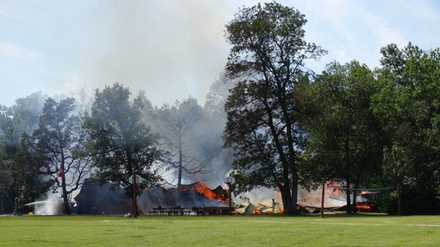 The blaze broke out at around 2 p.m. Monday in a bathroom in the main facility of the Dauphin Bible Camp, about 320 kilometres northwest of Winnipeg. (Source: Mark McAvoy/CKDM)
