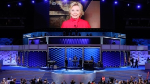 Democratic Presidential candidate Hillary Clinton appears on a large monitor to thank delegates during the second day of the Democratic National Convention in Philadelphia , Tuesday, July 26, 2016. (AP / J. Scott Applewhite)