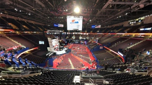 The Democratic National Convention floor at the Wells Fargo Center in Philadelphia on Wednesday, July 27, 2016 (Washington News Bureau Producer Will Dugan)