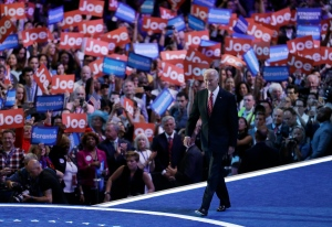 Vice President Joe Biden takes the stage during the third day of the Democratic National Convention, Wednesday, July 27, 2016, in Philadelphia. (AP / John Locher)