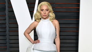 Lady Gaga arrives at the Vanity Fair Oscar Party in Beverly Hills, Calif. on Feb. 28, 2016. (Evan Agostini / Invision)