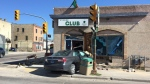 A car crashed into the side of a building at the corner of Arlington Street and Sargent Avenue. (Photo: John Schneider/CTV Winnipeg)
