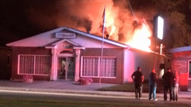 A fire destroyed the Jovial Club in Ste. Anne on Friday. (Source: Patricia McPherson)