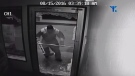 A man dressed as a goalie is one of two suspects in a break in at a beer store in Russell, Man. (Source: RCMP/YouTube)