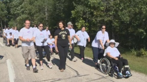 Victims of brain injuries and their families walked in support of the Manitoba Brain Injury Association, Sunday.