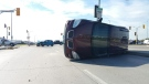 Police said the collision occurred at 3:15 p.m., resulting in a vehicle rollover. (Source: Dan Timmerman/ CTV Winnipeg)