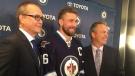 Winnipeg Jets announced Blake Wheeler will be their new team captain. (source: Shawn Churchill)