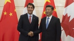 Chinese President Xi Jinping welcomes Canadian Prime Minister Justin Trudeau to the Diaoyutai State Guesthouse in Beijing, Wednesday August 31, 2016. THE CANADIAN PRESS/Adrian Wyld